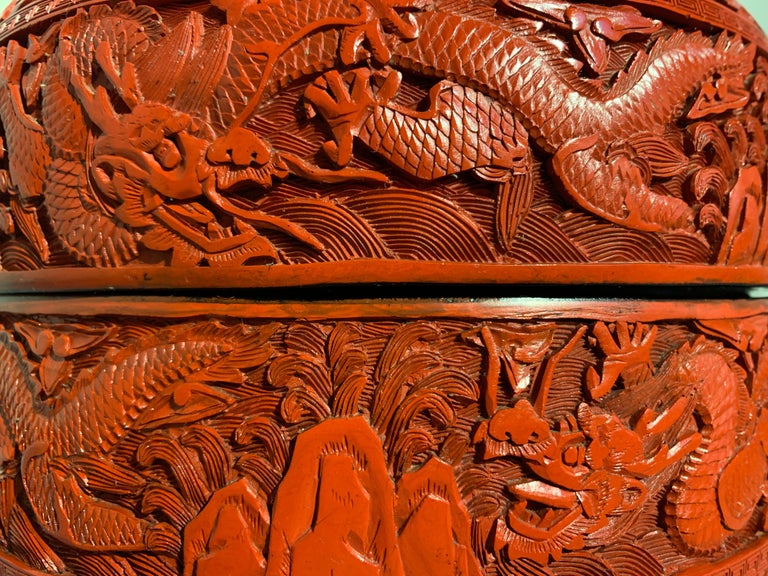 Chinese Carved Cinnabar Red Lacquer Round Dragon Box, Republic Period For Sale 4