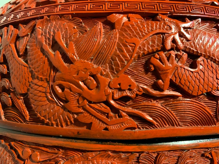 Chinese Carved Cinnabar Red Lacquer Round Dragon Box, Republic Period For Sale 5