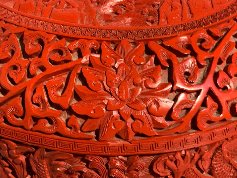 Chinese Carved Cinnabar Red Lacquer Round Dragon Box, Republic Period For Sale 7