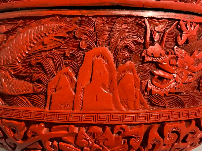 Chinese Carved Cinnabar Red Lacquer Round Dragon Box, Republic Period For Sale 8