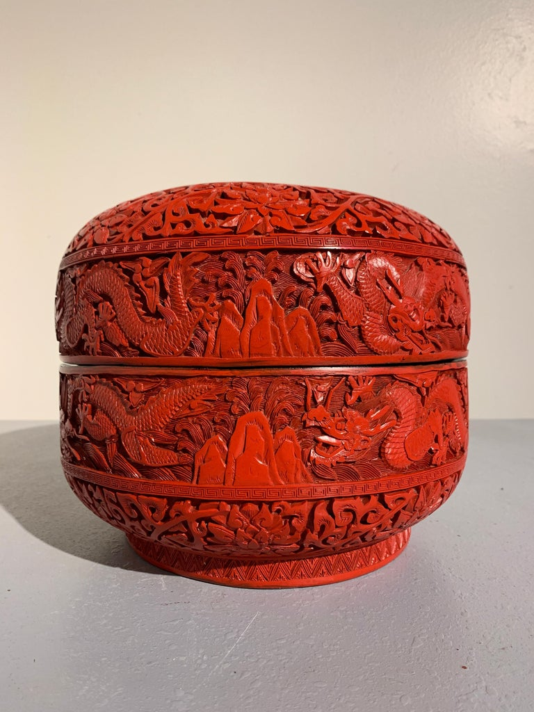 Qing Chinese Carved Cinnabar Red Lacquer Round Dragon Box, Republic Period For Sale