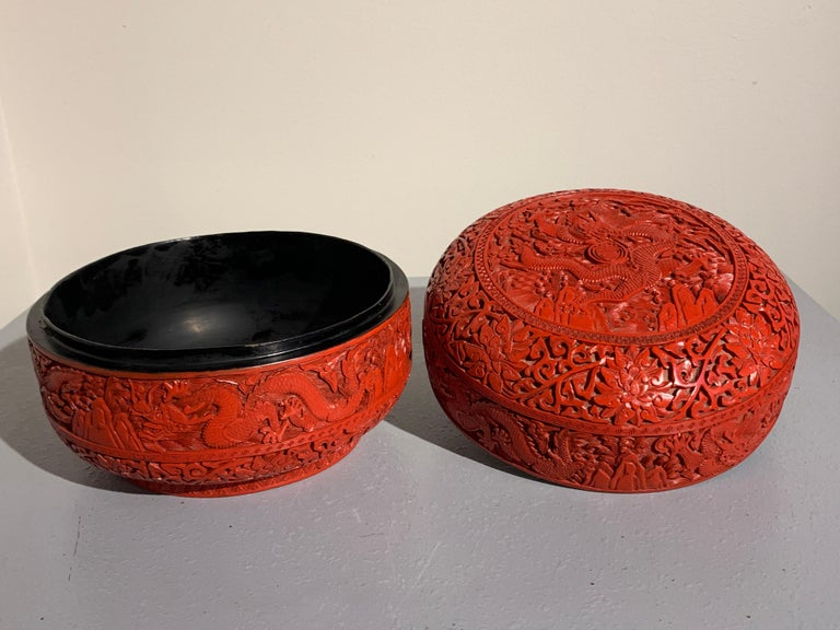 Chinese Carved Cinnabar Red Lacquer Round Dragon Box, Republic Period In Good Condition For Sale In Austin, TX