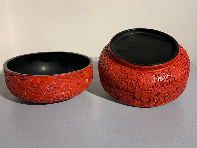 Chinese Carved Cinnabar Red Lacquer Round Dragon Box, Republic Period For Sale 1
