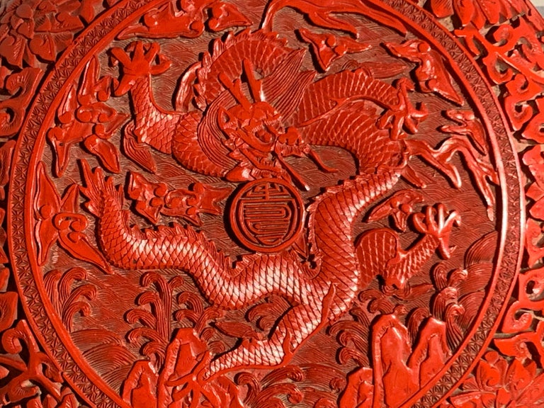 Chinese Carved Cinnabar Red Lacquer Round Dragon Box, Republic Period For Sale 2