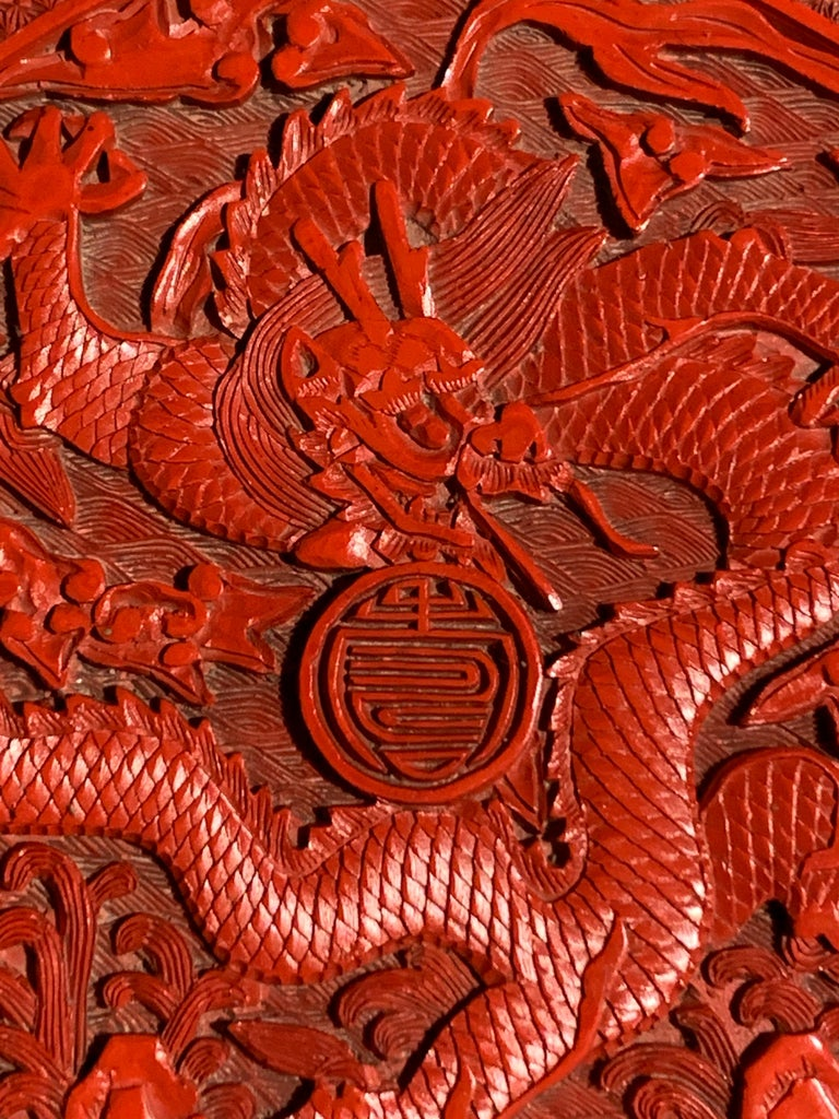 Chinese Carved Cinnabar Red Lacquer Round Dragon Box, Republic Period For Sale 3