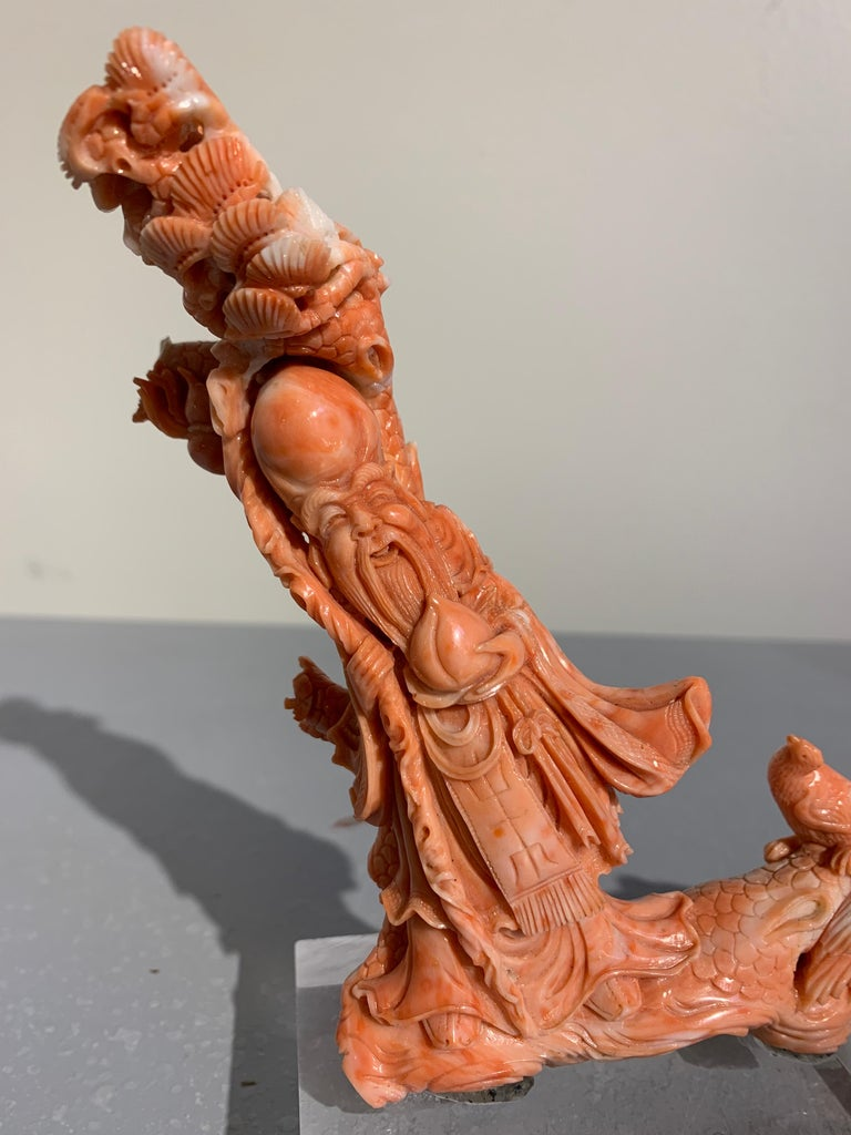 Qing Chinese Carved Coral Figure of Shou Lao, Early 20th Century For Sale
