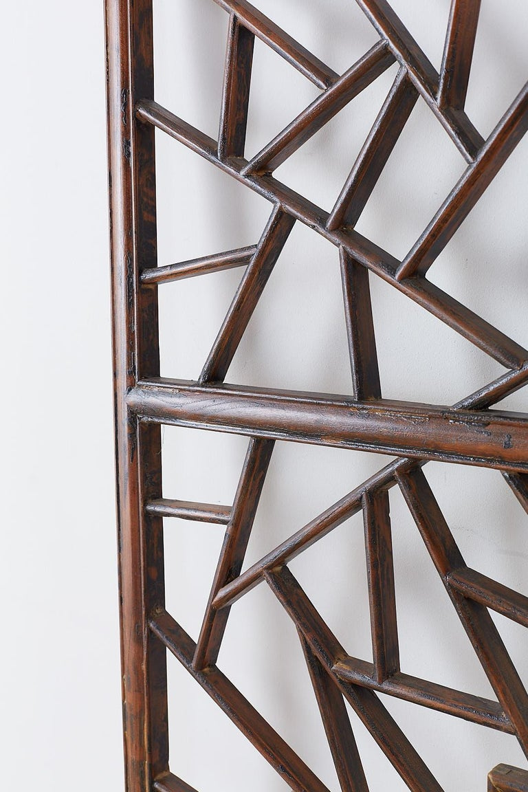 Chinese Carved Cracked Ice Lattice Panel For Sale 3