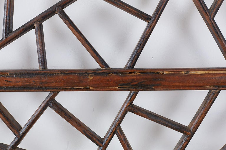Chinese Carved Cracked Ice Lattice Panel For Sale 4