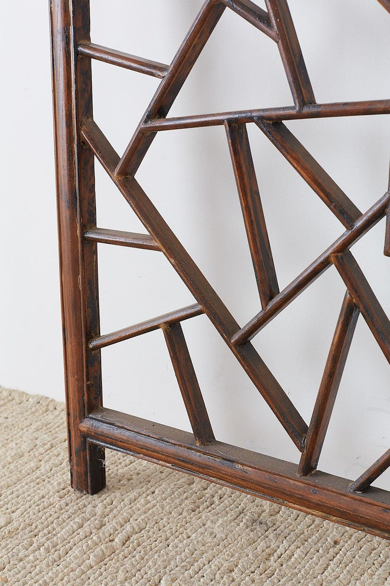 Chinese Carved Cracked Ice Lattice Panel For Sale 5