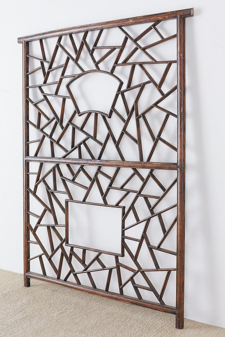 Chinese Carved Cracked Ice Lattice Panel For Sale 9