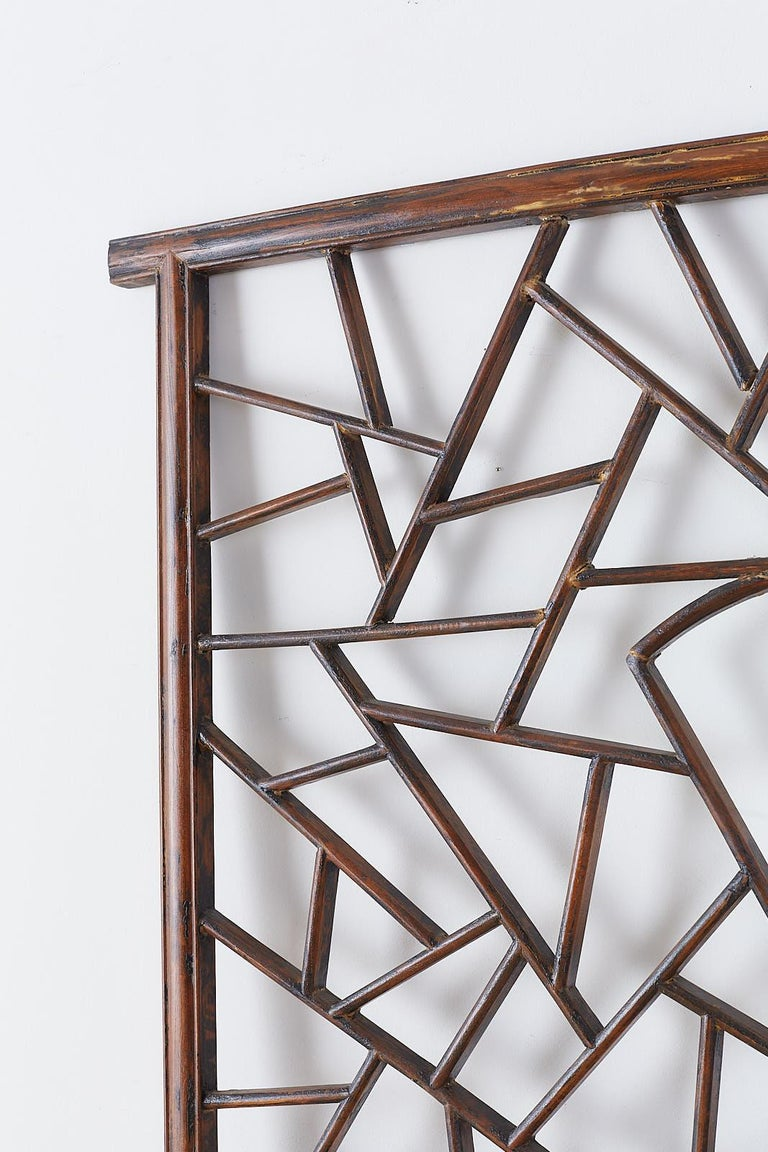 Qing Chinese Carved Cracked Ice Lattice Panel For Sale