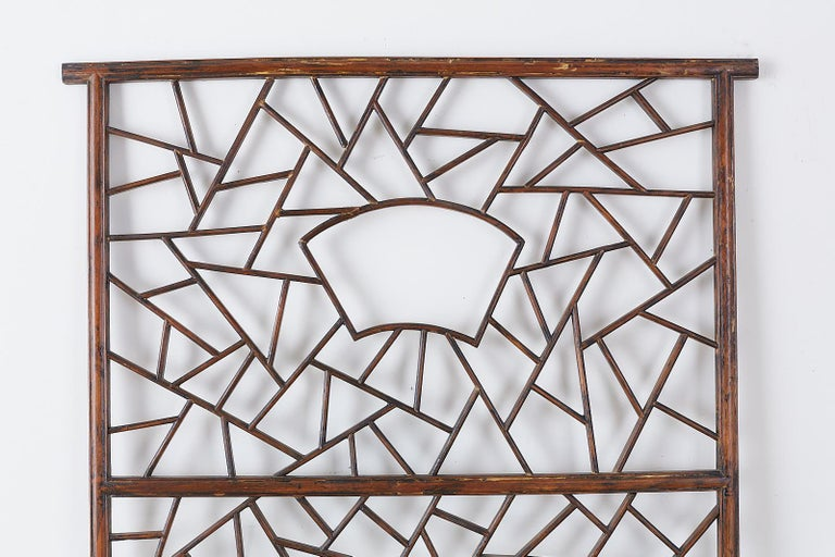 20th Century Chinese Carved Cracked Ice Lattice Panel For Sale