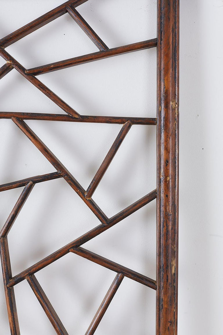 Chinese Carved Cracked Ice Lattice Panel For Sale 1