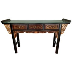 Chinese Carved Giltwood and Lacquered Console Prayer Table