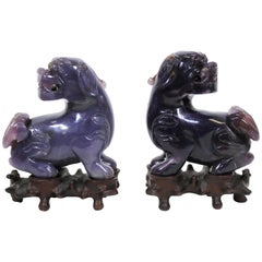 Chinese Carved Hardstone Foo Dogs on Carved Wood Bases