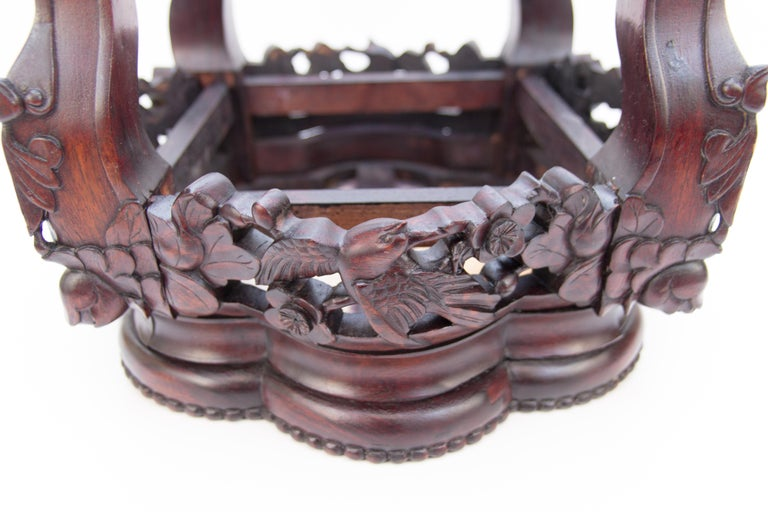 Chinese Carved Hardwood Pot Stand with Shaped Marble Inlaid Top For Sale 7