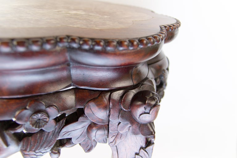 Chinese Carved Hardwood Pot Stand with Shaped Marble Inlaid Top For Sale 9