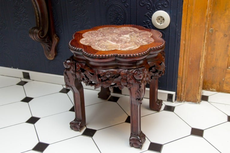 Chinese Carved Hardwood Pot Stand with Shaped Marble Inlaid Top For Sale 10