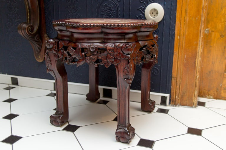 Chinese Carved Hardwood Pot Stand with Shaped Marble Inlaid Top For Sale 11