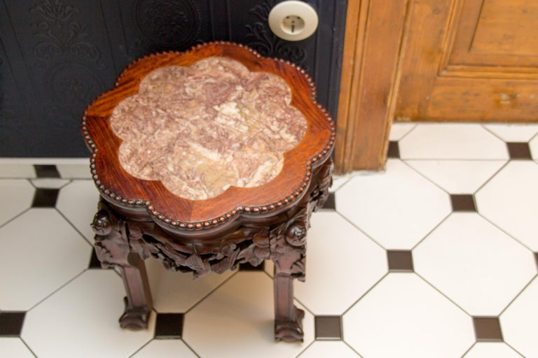 Chinese Carved Hardwood Pot Stand with Shaped Marble Inlaid Top For Sale 12