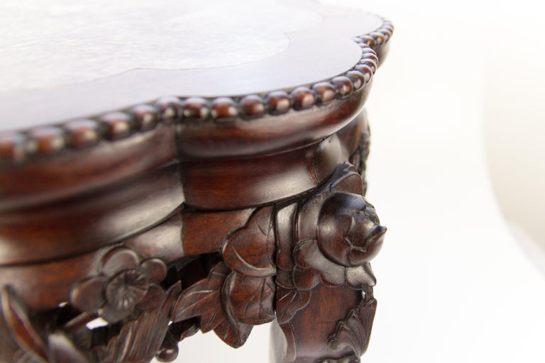 Chinese Carved Hardwood Pot Stand with Shaped Marble Inlaid Top For Sale 2