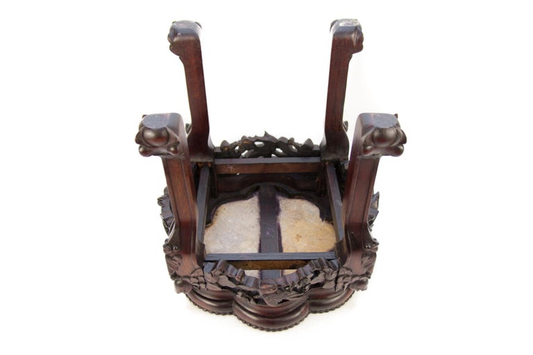 Chinese Carved Hardwood Pot Stand with Shaped Marble Inlaid Top For Sale 5