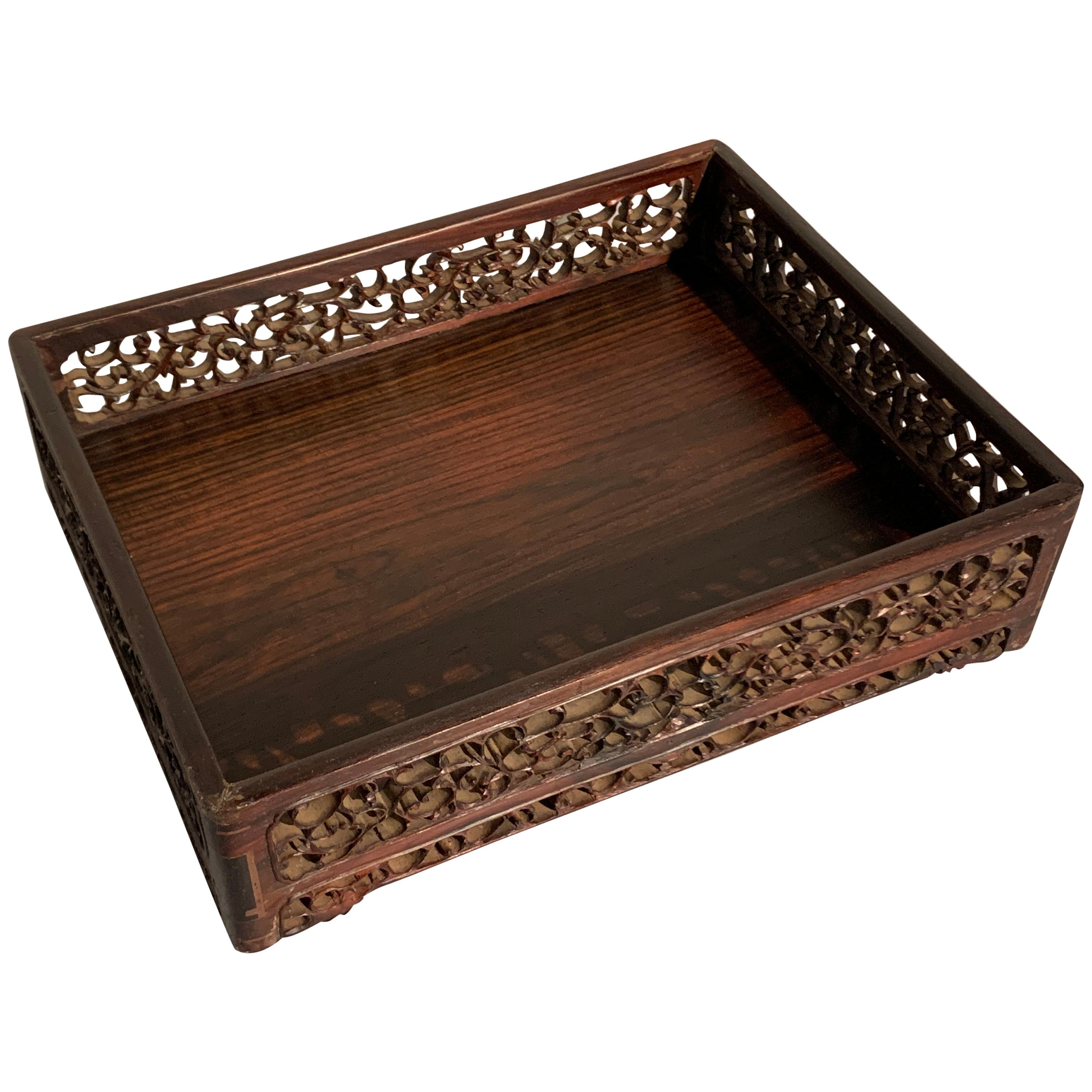 Chinese Carved Hardwood Scholar's Tray, Qing Dynasty, 19th Century, China