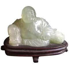 Chinese Carved Jade Buddha on Wood Base