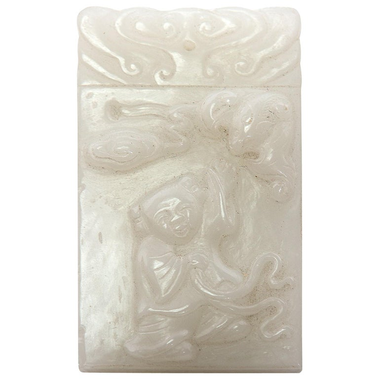Chinese Carved Jade Ho Ho Boy Pendant For Sale
