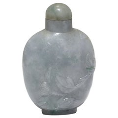 Chinese Carved Jade Snuff Bottle and Stopper