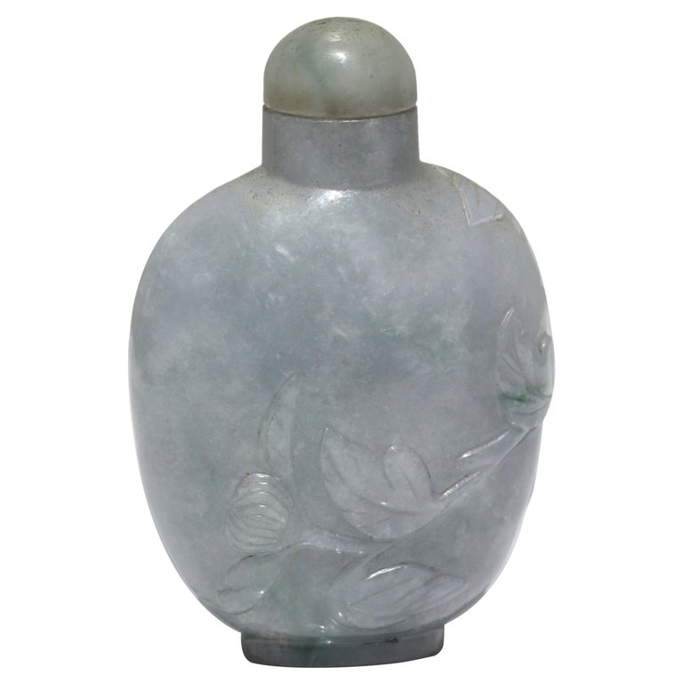 Chinese Carved Jade Snuff Bottle and Stopper For Sale