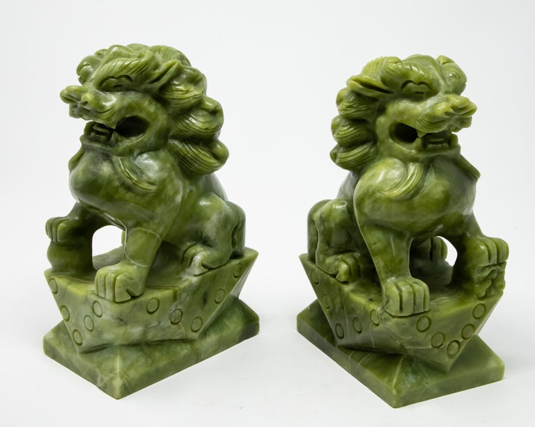 Chinese Carved Jade Stone Guardian Lions For Sale 4