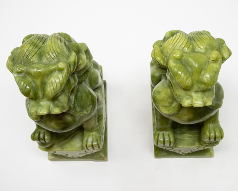 Chinese Carved Jade Stone Guardian Lions For Sale 6