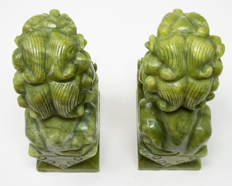 Chinese Carved Jade Stone Guardian Lions For Sale 7