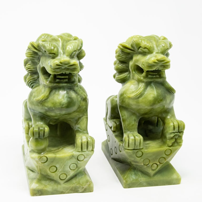 Chinese Export Chinese Carved Jade Stone Guardian Lions For Sale