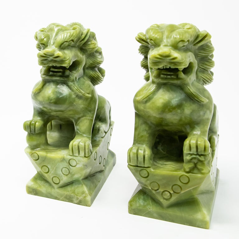 Hand-Carved Chinese Carved Jade Stone Guardian Lions For Sale