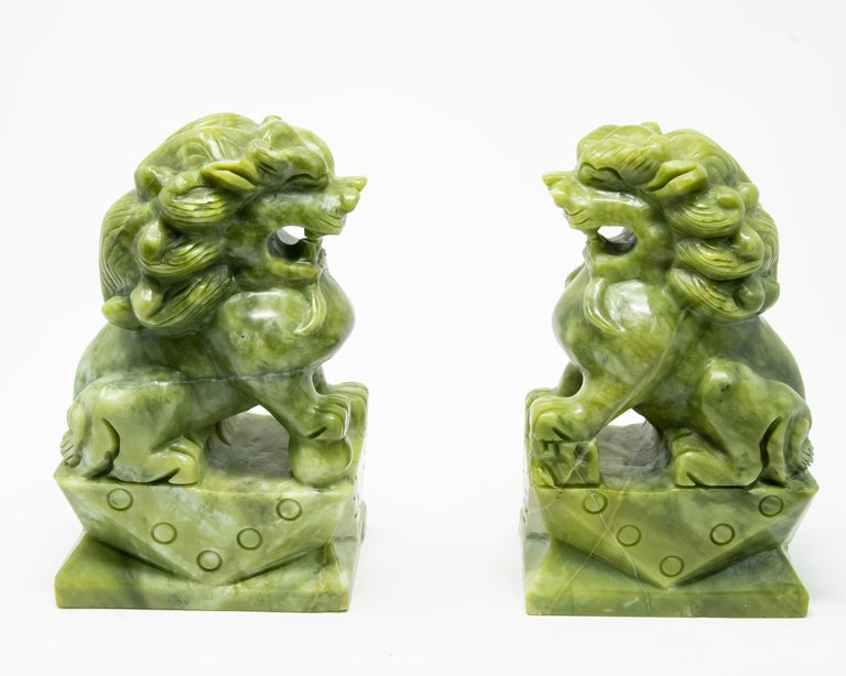 Chinese Carved Jade Stone Guardian Lions In Fair Condition For Sale In Cookeville, TN