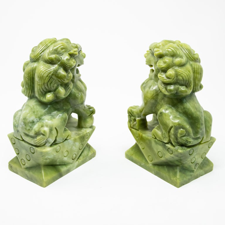 20th Century Chinese Carved Jade Stone Guardian Lions For Sale