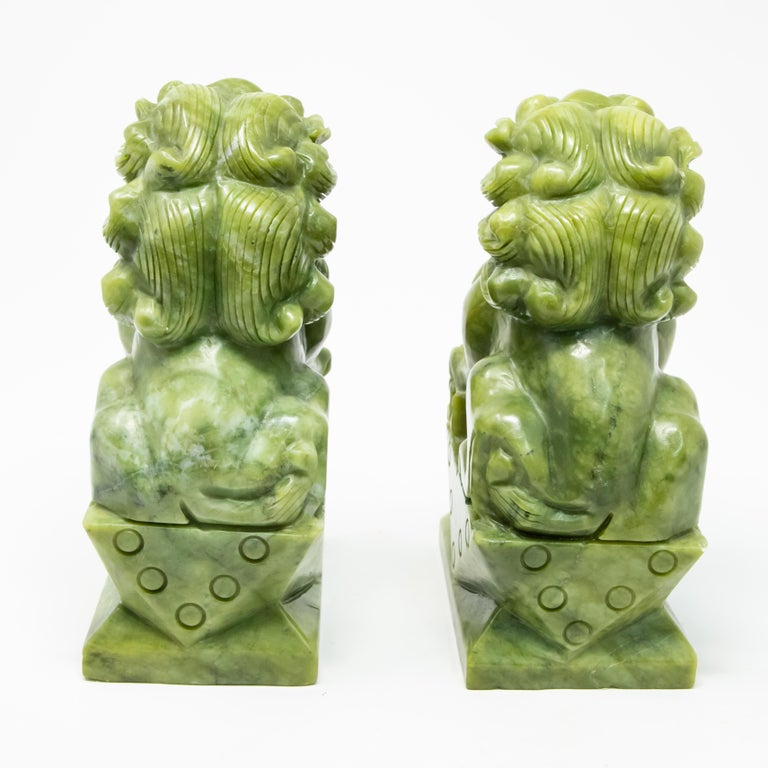 Chinese Carved Jade Stone Guardian Lions For Sale 1