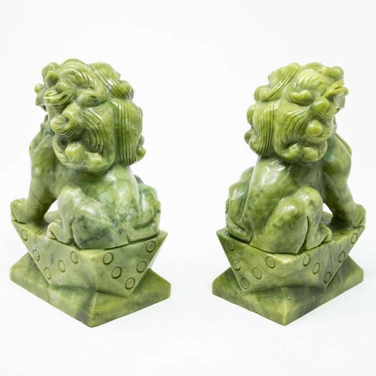 Chinese Carved Jade Stone Guardian Lions For Sale 2