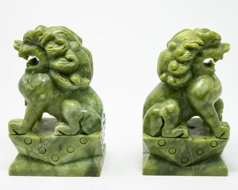 Chinese Carved Jade Stone Guardian Lions For Sale 3