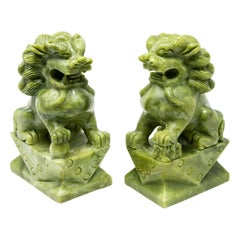 Chinese Carved Jade Stone Guardian Lions