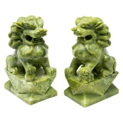 Chinese Carved Serpentine Stone Guardian Lions