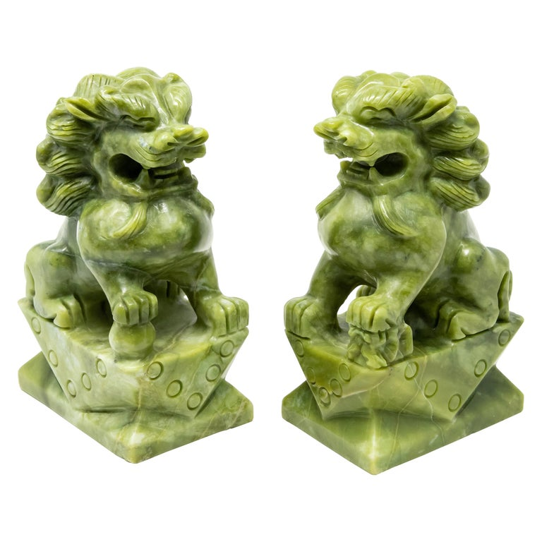 Chinese Carved Jade Stone Guardian Lions For Sale