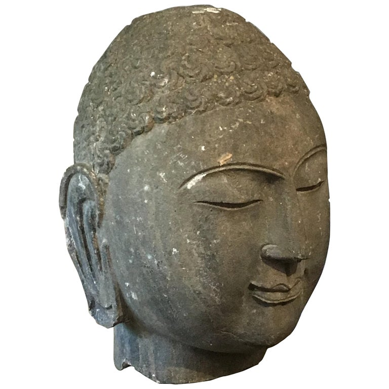 Chinese Carved Limestone Head of the Buddha, Mid-20th Century For Sale