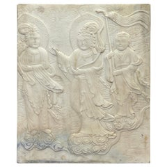 Chinese Carved Marble Plaque of Three Deities
