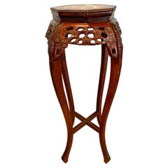 Chinese Carved Marble-Top Rosewood Pedestal Stand