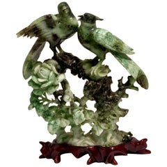 Chinese Carved Mottled Stone Birds and Flowers Sculpture on Rosewood Base