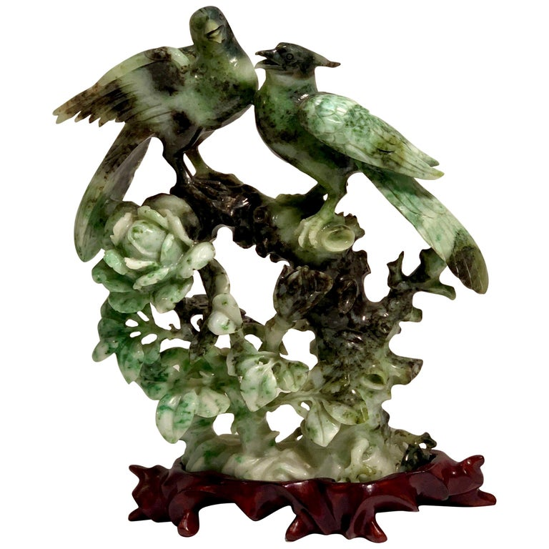 Chinese Carved Mottled Stone Birds and Flowers Sculpture on Rosewood Base For Sale