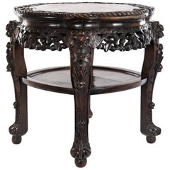 Chinese Carved Rosewood and Marble Captured-Top Table